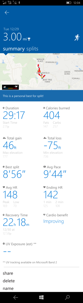 More exercise stats compared to Fitbit