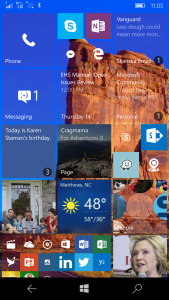 Customizable live tiles showing unread counts and information