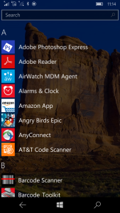 Swiping right shows all apps with easy to find by alpha or using search