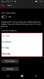 Wi-Fi can automatically turn back on